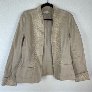Coldwater Creek Khaki Embroidered Jacket Size M